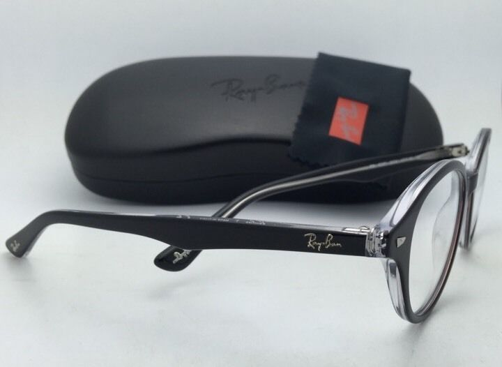 New RAY-BAN Eyeglasses RB 5257 2034 47-18 Black on Transparent Frames Demo Lens