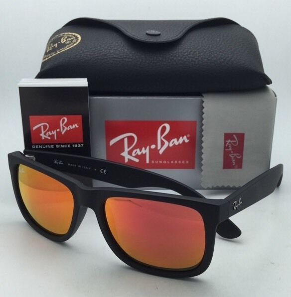New Ray-Ban Sunglasses JUSTIN RB 4165 622/6Q 54-16 Black Rubber Frame/Red Mirror