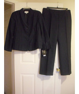 Le Suit New Black/Cobalt Shawl Collar Seamed/Pleated Front Jacket Pant S... - $67.31