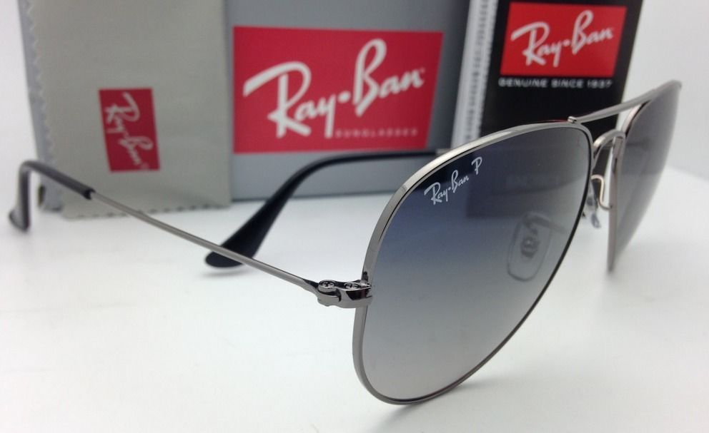 Ray-Ban Aviator Sunglasses RB 3025 004/78 55 Gunmetal w/POLARIZED Blue-Grey Fade