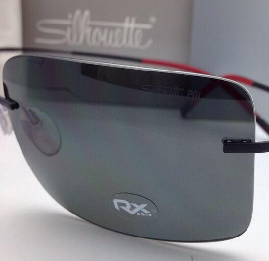 ab19ab9dc82 Polarized SILHOUETTE Rimless Titanium Sunglasses 8661 50 6200 Black-Red w   Grey
