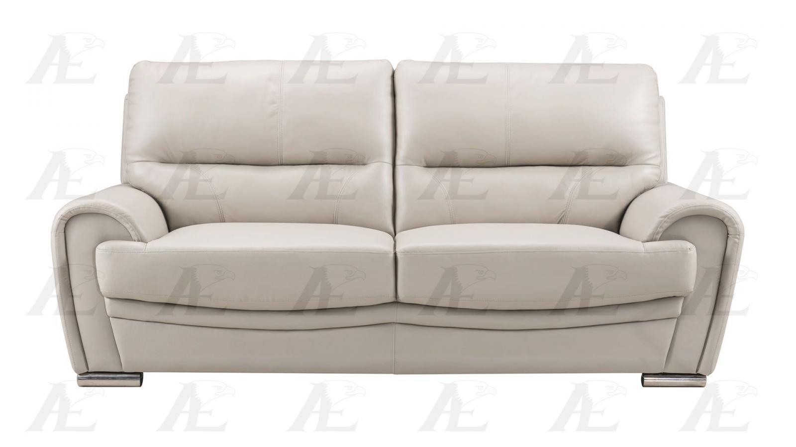 American eagle ek522 lg light gray genuine leather sofa for Light gray leather sofa