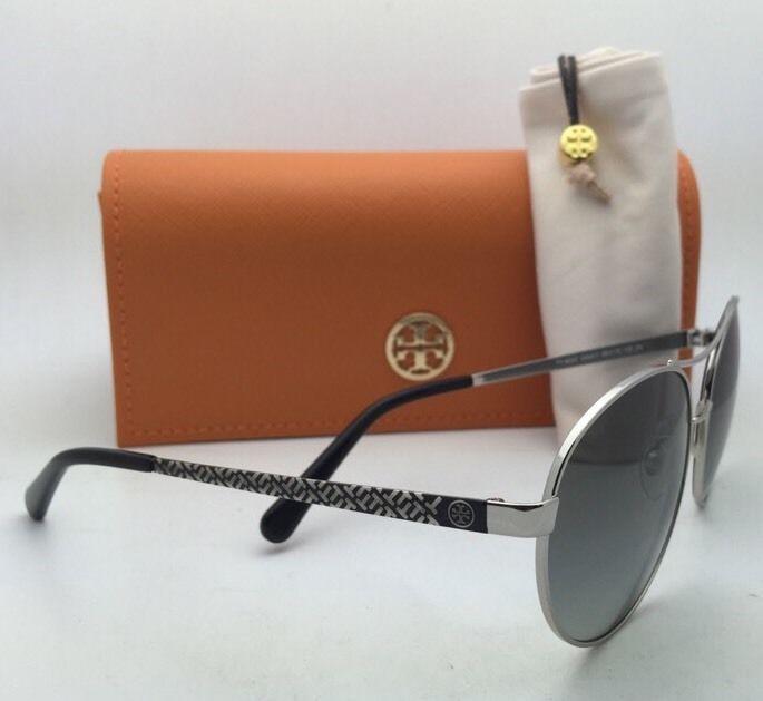 aa457de0804c New TORY BURCH Sunglasses TY 6037 304411 56-16 Silver & Black Frame w/