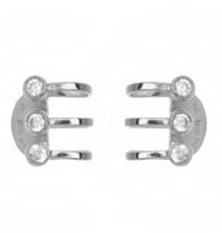 18K White VERMEIL-5A Cz Bezel Set Adjustable Cuff Earrings-SS/925 - $39.59