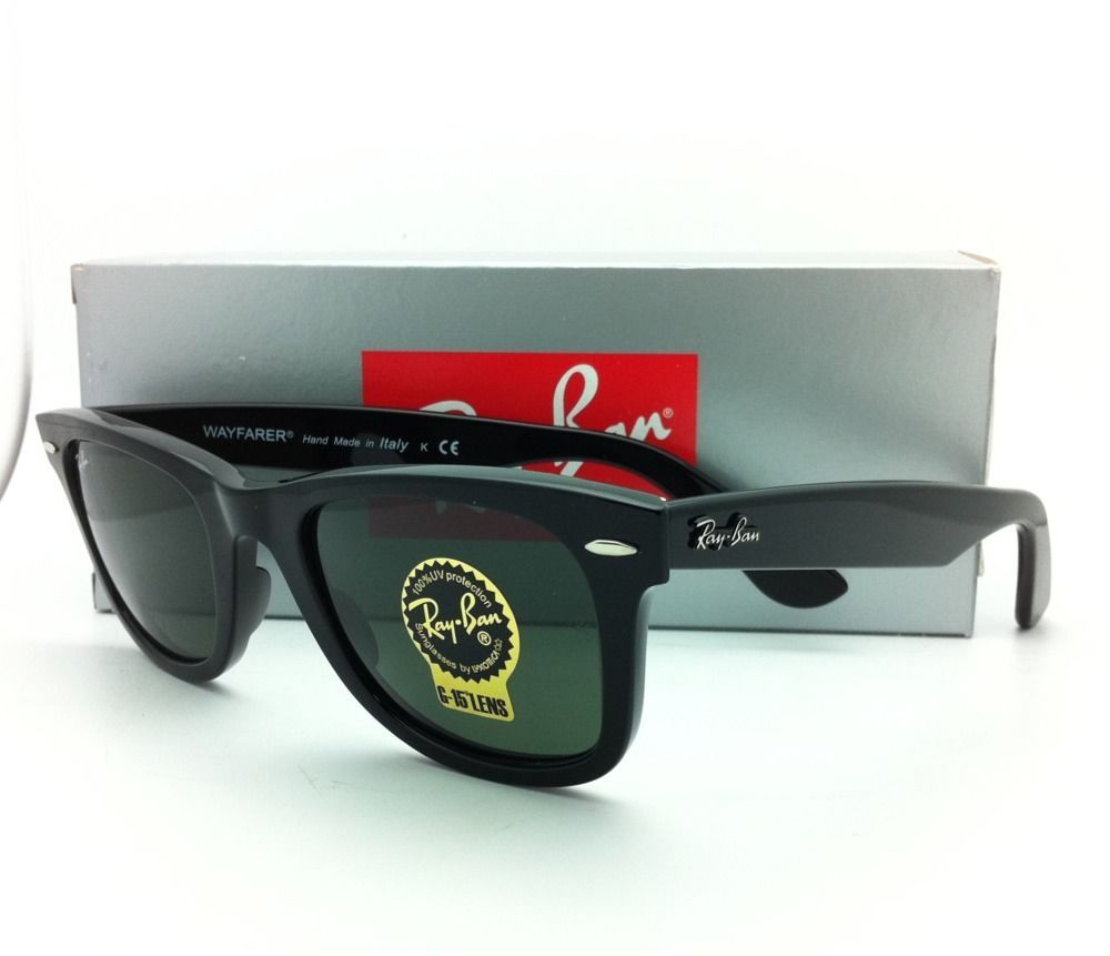 cfae750090 New Ray-Ban Sunglasses RB 2140 901 50-22 WAYFARER Black Frame w