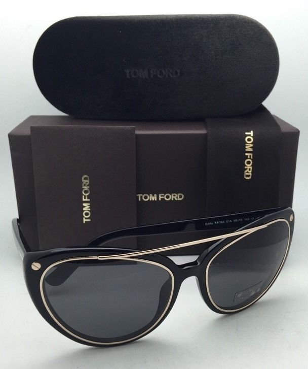 16f6fa5d81a3d New TOM FORD Sunglasses EDITA TF 384 01A 58-18 Black   Gold Frames w