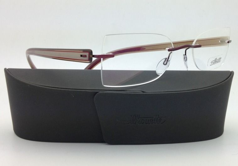 SILHOUETTE Eyeglasses MODERN SHADES 4306 6055 50-19 Red Ivory Pearl w/Clear lens