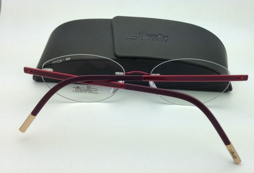 New SILHOUETTE Eyeglasses ZENLIGHT 6692 6053 52-17 Oval Red w/ Clear Demo lenses