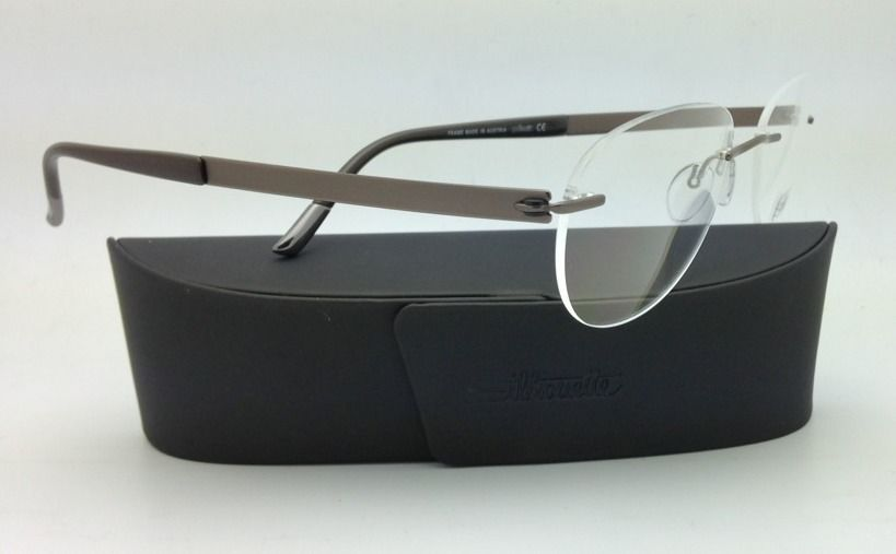 New SILHOUETTE Eyeglasses TITAN IMPRESSIONS 7776 6055 54-19 Brown w/Clear lenses