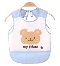 Waterproof Baby Bib Overclothes Painting Smock Apron Sleeveless Blue