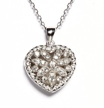 18K White Vermeil Pave Fancy Photo Puffed Heart 5A Cz Necklace-Pendant 925/SS - $89.09