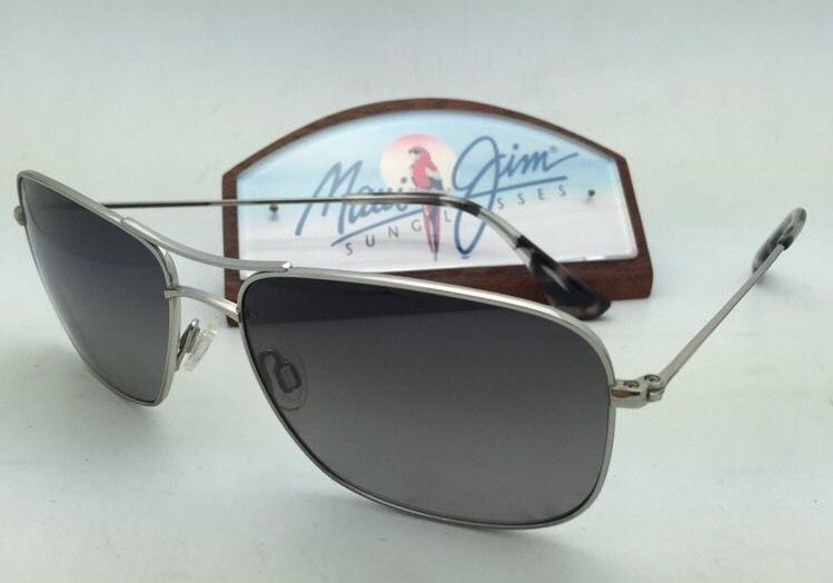 Polarized MAUI JIM Sunglasses WIKI WIKI MJ 246-17 Silver Frame w/ Grey Gradient