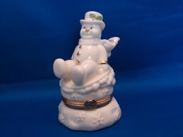 "Lenox Treasures Trinket Box Snowy Escapades Bone China Snowman 3 3/4"" - $6.00"