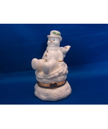 "Lenox Treasures Trinket Box Snowy Escapades Bone China Snowman 3 3/4"" - $6.00"