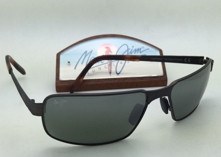 Polarized MAUI JIM Sunglasses CASTAWAY MJ 187-01M Matte Choco Brown w/ Grey Lens