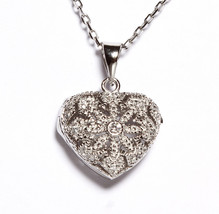 18K VERMEIL-Dainty Pave Fancy Photo Puffed Heart 5A CZ  Necklace-Pendant 925/SS - $59.39