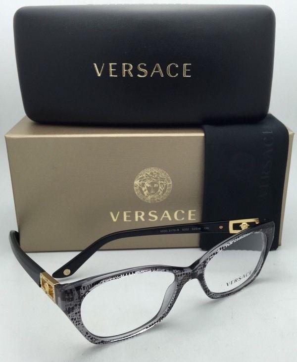 63bcfdd680bde New VERSACE Rx-able Eyeglasses VE 3170-B 5002 Grey   Black Frames w