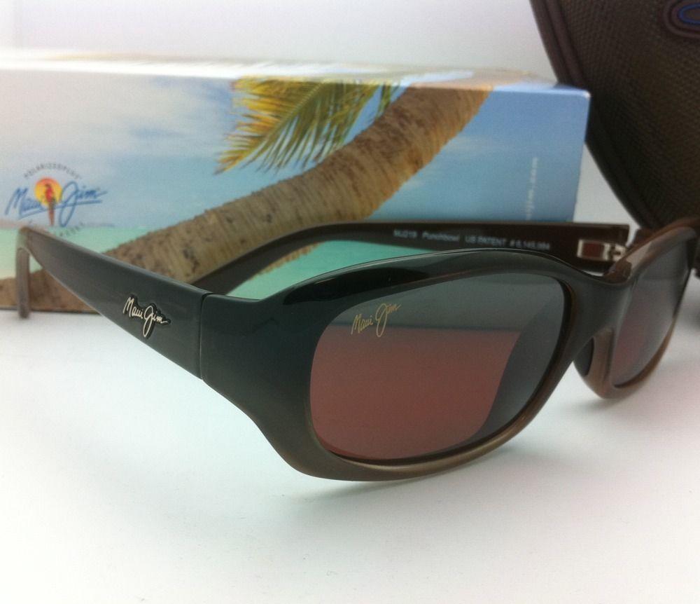 MAUI JIM Polarized Sunglasses PUNCHBOWL MJ 219-01 Chocolate Frames w/Rose Lenses