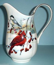 """Lenox Winter Greetings Scenic Pitcher Winter Birds Berries 10"""" H Made in... - $108.90"""