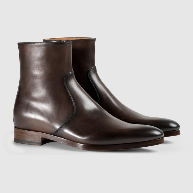 8f85aa1013f9 Handmade men brown boots, leather zip up boots for men, men dress ...