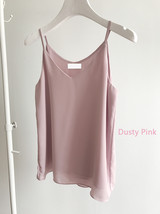 Summer Sleeveless Tank Top Lady Pink Chiffon Tops Wedding Bridesmaid Top Blouses image 7