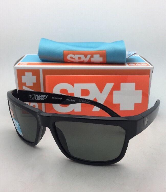 de6a477121 Polarized SPY OPTIC Sunglasses FRAZIER Shiny Black Frame w Happy Grey-Green  Lens