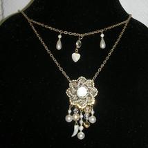 Vintage Asymmetrical Freshwater Pearl Filigree Festoon Necklace Earrings Set image 2