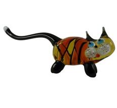 Cat Hand Blown Glass Figurine Murano Style Amber, Orange, Black Color 4.... - $13.95