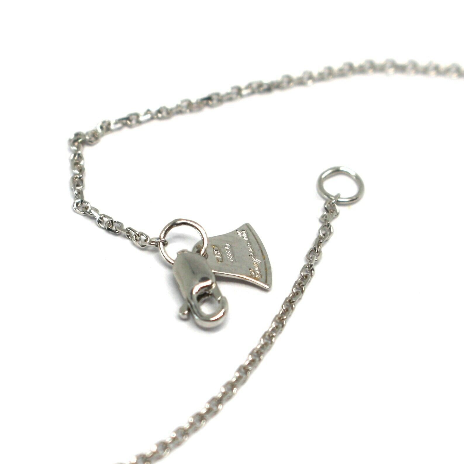 Necklace White Gold 18k 750, Chain Rolo ' , Symbols Infinity, Zircon Cubic image 3