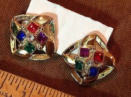 "3/4/"" Multi Color Square Rhinestones Post Earrings Gold Tone Pierced - $6.60"