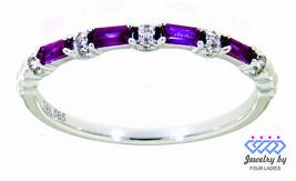 Rubin Baguette Geburtsstein 14K Weiss Gold 0.22CT Natur Diamant Designer... - $711.24