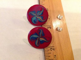 "1"" Red Enamel Disk Blue Swirls Silver tone Earrings Posts Pierced Ears - $6.60"