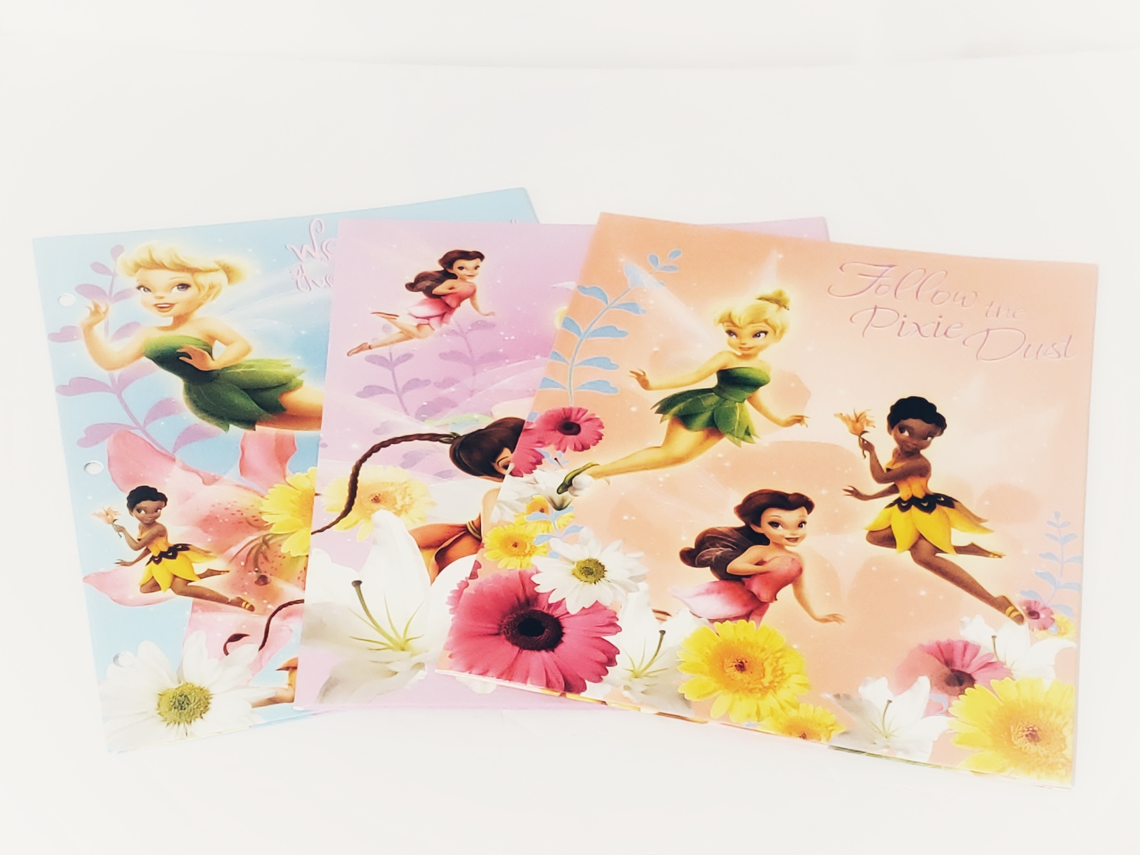 Primary image for Disney's Tinkerbell & Friends Fairies Colorful 2 Pocket Folders, Lot of 3