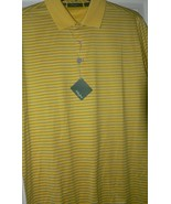 NWT BOBBY JONES Golf polo shirt L golfer yellow with blue pinstripe men'... - $58.15