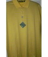 NWT BOBBY JONES Golf polo shirt L golfer yellow with blue pinstripe men'... - $58.15