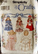 "Sewing Pattern 16"" & 18""(Used) American Victorian Style Girl Doll Clothes 8766 - $5.99"