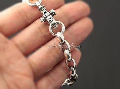 Mens Sterling Silver Bracelet Handcrafted Link Chain Hip Hop Biker Beachwear b08 image 3