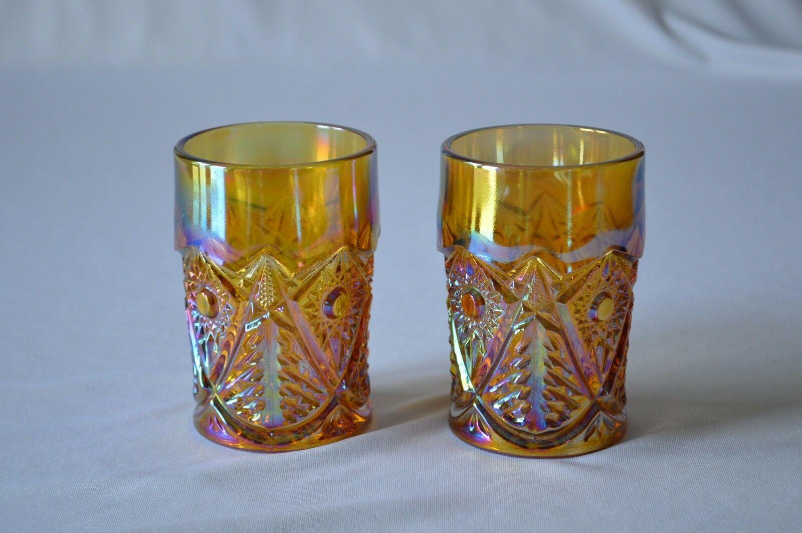 2 L E Smith Carnival Glass Valtec Tumblers image 2