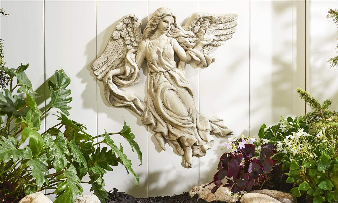 "19"" Angel Design Wall Decor Clay Natural Stone Finish Intricate Textural Detail"