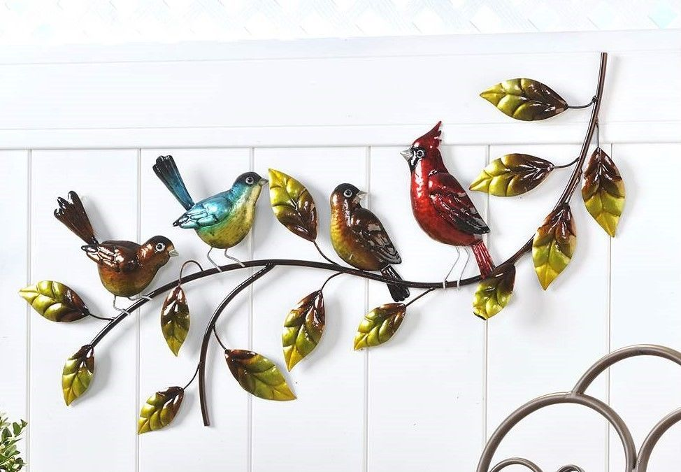 Birds on Leaf Branch Iron Wall Decor - Cardinal, Blue Jay Robin wTextural Detail