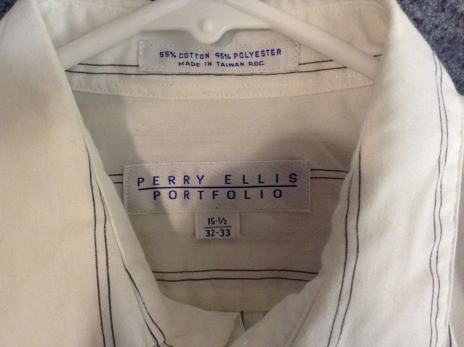Perry Ellis Portfolio White w Gray Vertical Lined Shirt Sz 15.5 32/33