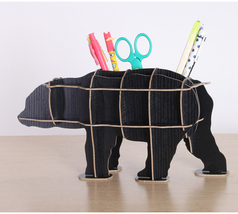 Wooden 3D Puzzle Bear Sculpture Stationery Pen Holder - $30.00