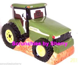 John Deere Tractor Cookie Jar Cookies Ceramic Gibson Farmer Green Yellow - $49.97