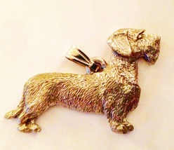 Dachshund Wire Haired Pendant Dog Harris Fine Pewter Made in USA jewelry - $10.99