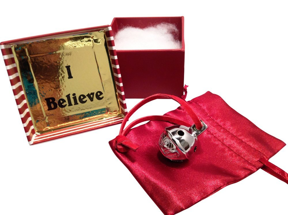 Miniature Santa Sleigh Bell #1 Silver Chrome in I Believe Box Help an Angel G...