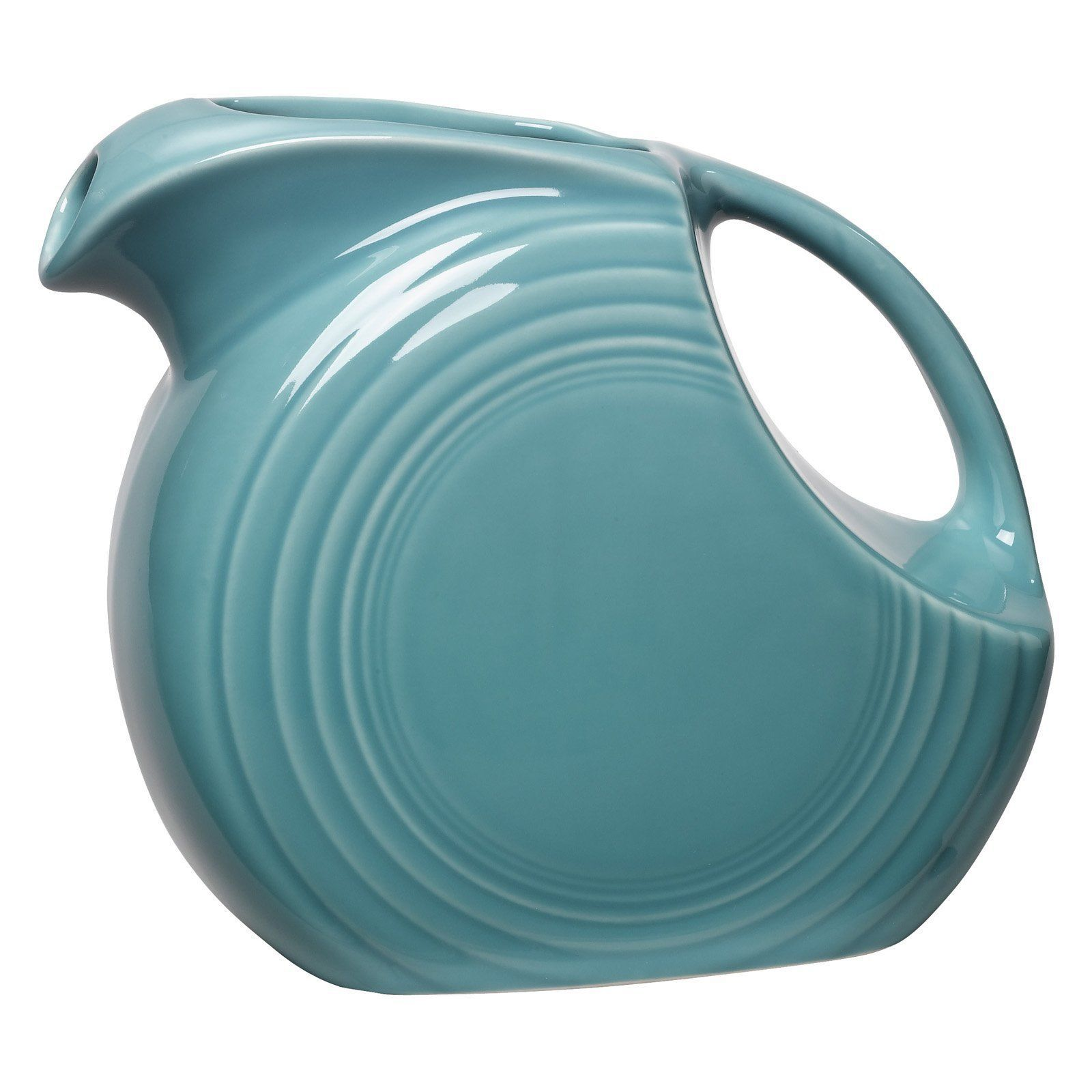 Fiesta Pitcher Large Blue Turquoise Disk Fiestaware 67 Disc Oz Ounce 8 Cups New - $64.37