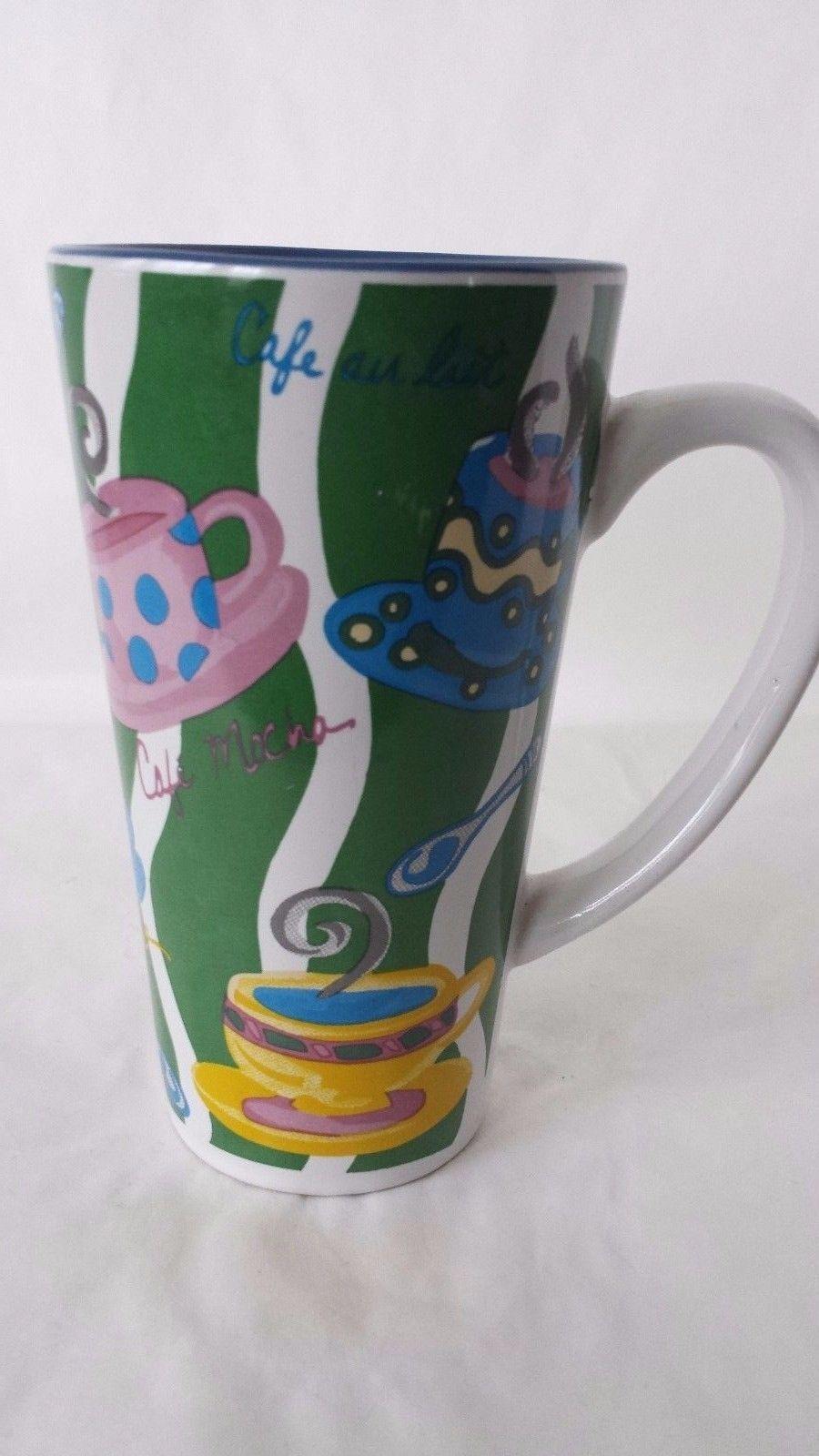 Latte Coffee Houston Harvest Coffee Tea Mug Cup  Green Blue - $12.46