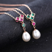 Elegant U Shaped Pendant Hanging Pearl Sterling Silver Necklace Fashion Jewelry - $13.99