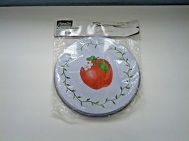 decorative set of 2 white with red  apple design stove covers NOS - $16.82