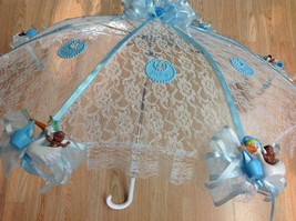 "36"" White Lace black baby babies shower umbrella Blue ducks & pacifiers - $27.71"